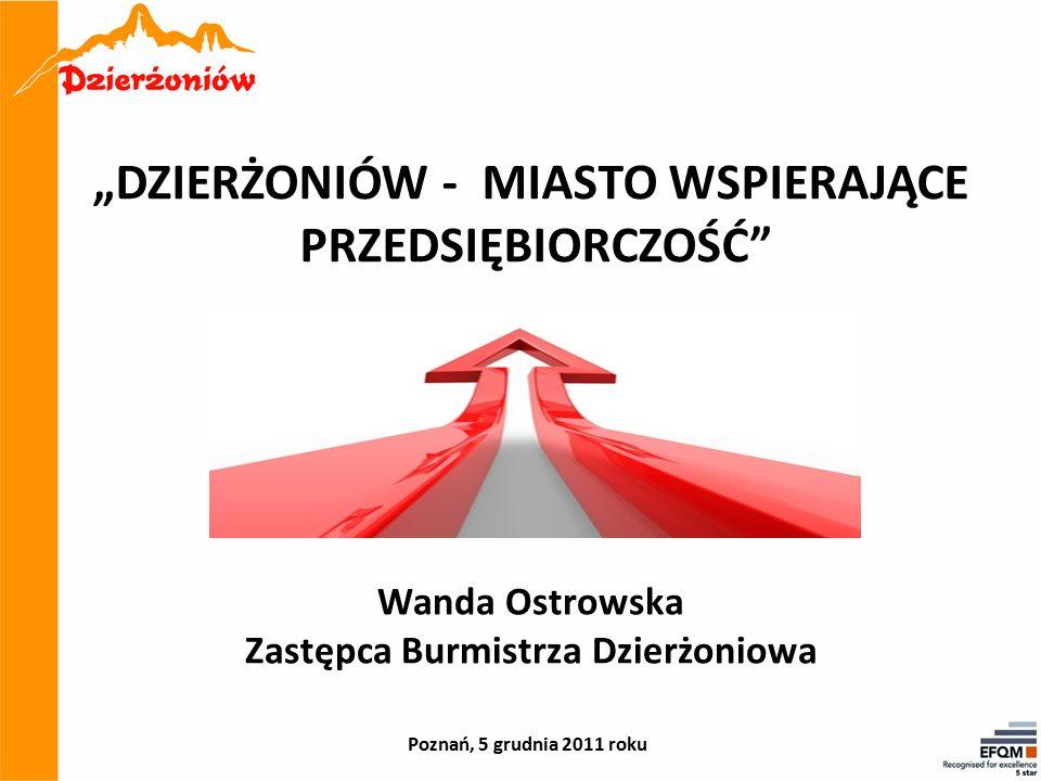 """""""DZIERŻONIÓW - MIASTO WSPIERAJĄCE PRZEDSIĘBIORCZOŚĆ Wanda Ostrowska Zastępca Burmistrza Dzierżoniowa Poznań, 5 grudnia 2011 roku"""
