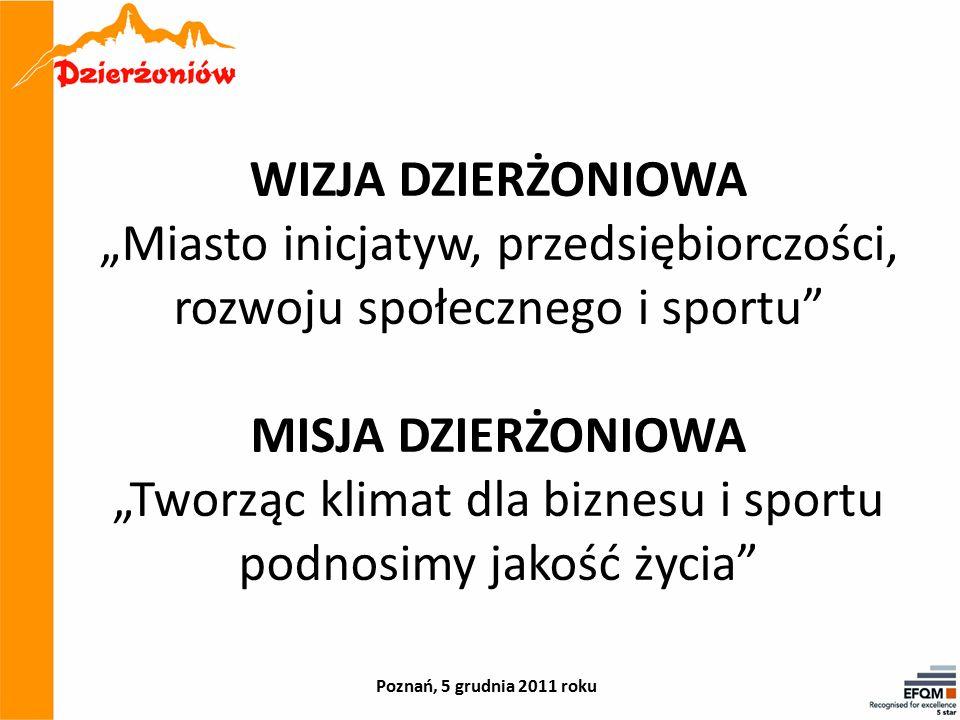"""WIZJA DZIERŻONIOWA """"Miasto inicjatyw, przedsiębiorczości, rozwoju społecznego i sportu MISJA DZIERŻONIOWA """"Tworząc klimat dla biznesu i sportu podnosimy jakość życia Poznań, 5 grudnia 2011 roku"""