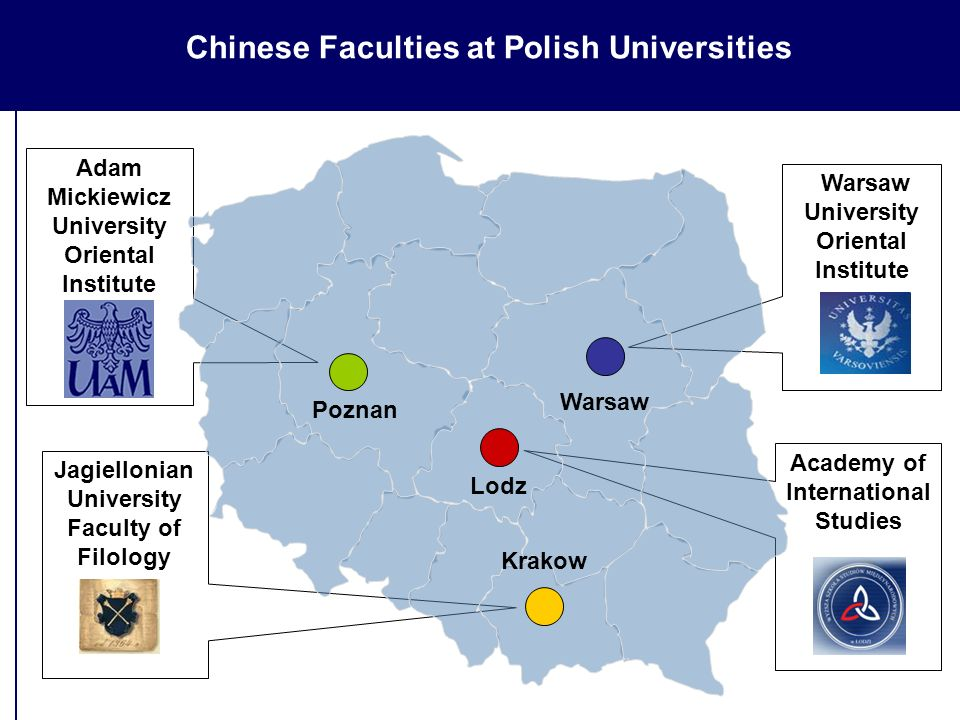 Academy of International Studies Adam Mickiewicz University Oriental Institute Jagiellonian University Faculty of Filology Warsaw University Oriental Institute Warsaw Poznan Chinese Faculties at Polish Universities Krakow Lodz