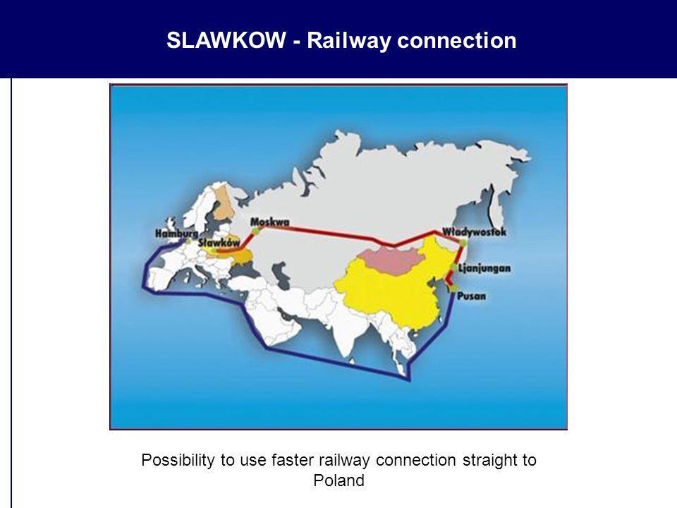 SLAWKOW - Railway connection Possibility to use faster railway connection straight to Poland