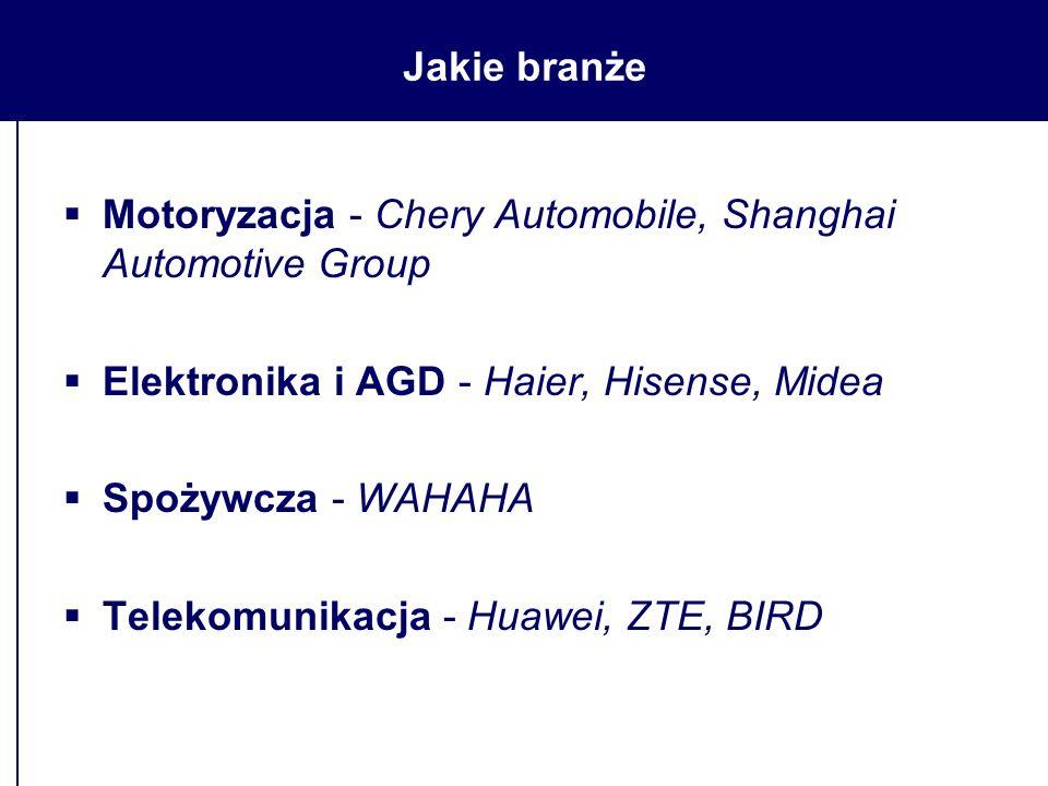 Jakie branże  Motoryzacja - Chery Automobile, Shanghai Automotive Group  Elektronika i AGD - Haier, Hisense, Midea  Spożywcza - WAHAHA  Telekomunikacja - Huawei, ZTE, BIRD