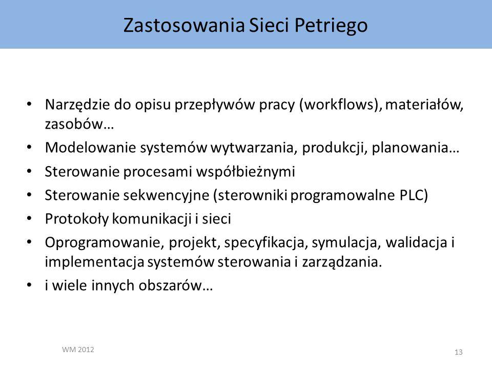 Zastosowania Sieci Petriego WM 2012 13 Narzędzie do opisu przepływów pracy (workflows), materiałów, zasobów… Modelowanie systemów wytwarzania, produkcji, planowania… Sterowanie procesami współbieżnymi Sterowanie sekwencyjne (sterowniki programowalne PLC) Protokoły komunikacji i sieci Oprogramowanie, projekt, specyfikacja, symulacja, walidacja i implementacja systemów sterowania i zarządzania.