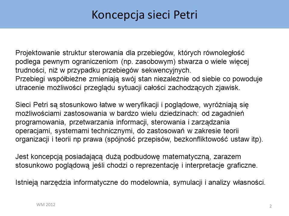 Koncepcja sieci Petri WM 2012 2 Projektowanie struktur sterowania dla przebiegów, których równoległość podlega pewnym ograniczeniom (np.