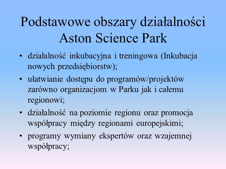 Podstawowe obszary działalności Aston Science Park działalność inkubacyjna i treningowa (Inkubacja nowych przedsiębiorstw); ułatwianie dostępu do programów/projektów zarówno organizacjom w Parku jak i całemu regionowi; działalność na poziomie regionu oraz promocja współpracy między regionami europejskimi; programy wymiany ekspertów oraz wzajemnej współpracy;