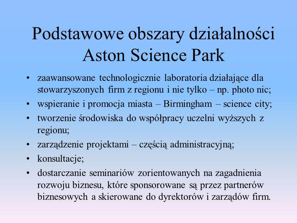 zaawansowane technologicznie laboratoria działające dla stowarzyszonych firm z regionu i nie tylko – np.