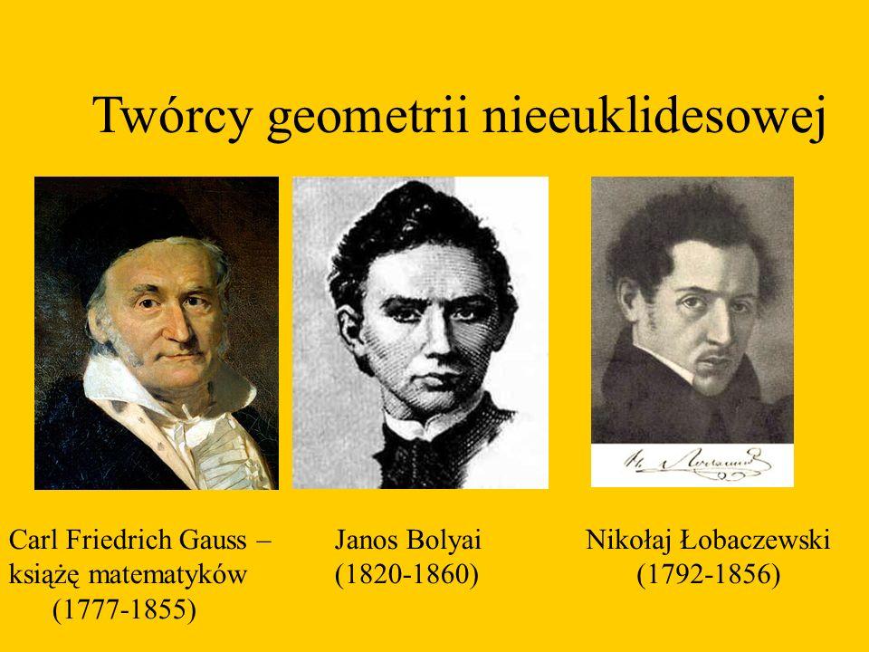 Twórcy geometrii nieeuklidesowej Carl Friedrich Gauss – książę matematyków (1777-1855) Janos Bolyai (1820-1860) Nikołaj Łobaczewski (1792-1856)