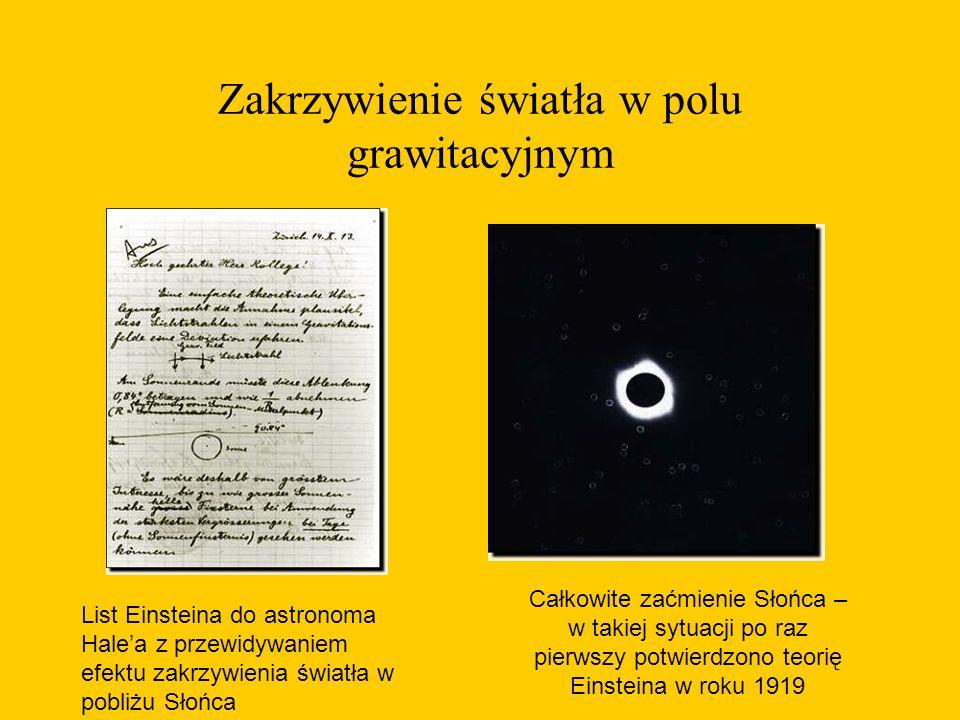Zakrzywienie światła w polu grawitacyjnym List Einsteina do astronoma Hale'a z przewidywaniem efektu zakrzywienia światła w pobliżu Słońca Całkowite zaćmienie Słońca – w takiej sytuacji po raz pierwszy potwierdzono teorię Einsteina w roku 1919