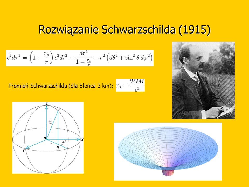 Rozwiązanie Schwarzschilda (1915) Promień Schwarzschilda (dla Słońca 3 km):