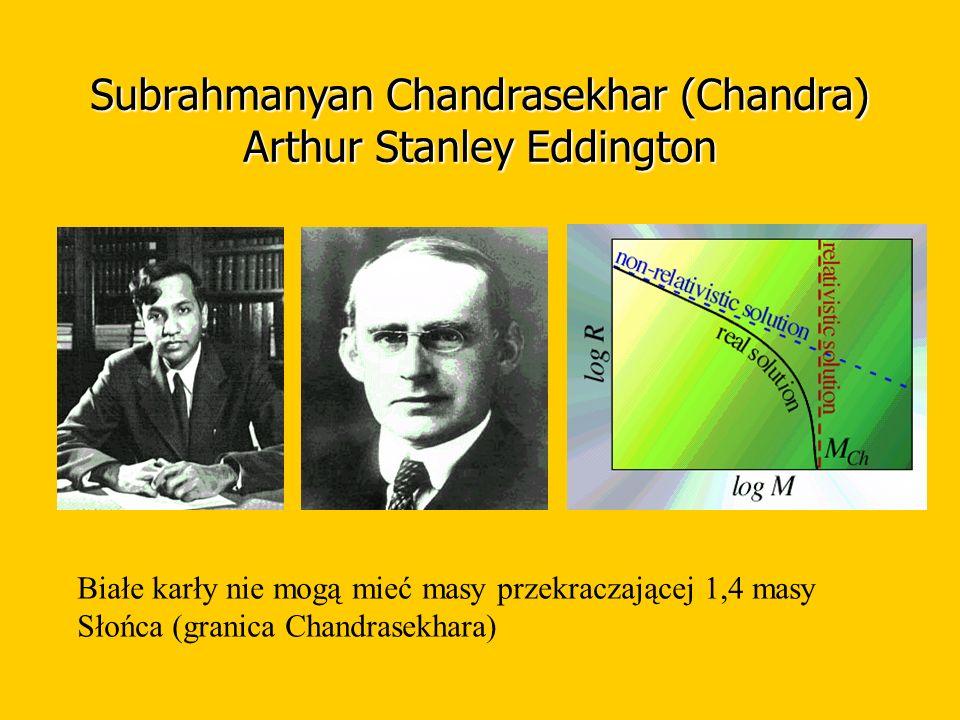 Subrahmanyan Chandrasekhar (Chandra) Arthur Stanley Eddington Białe karły nie mogą mieć masy przekraczającej 1,4 masy Słońca (granica Chandrasekhara)