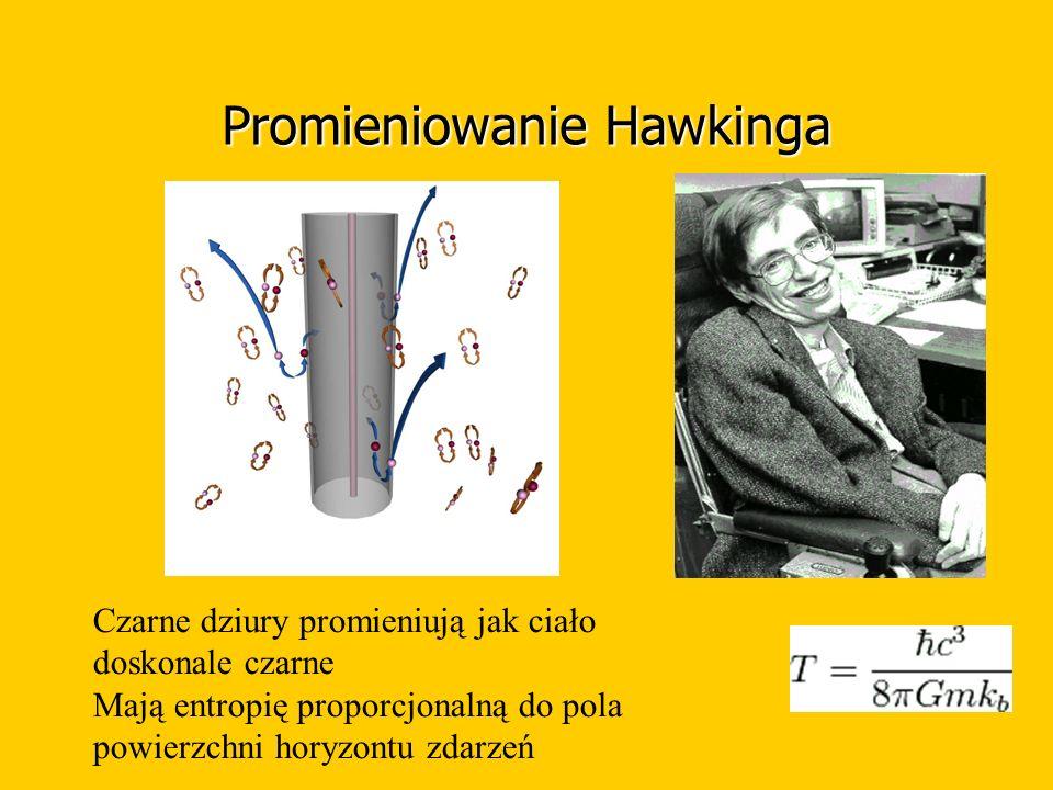 Promieniowanie Hawkinga Czarne dziury promieniują jak ciało doskonale czarne Mają entropię proporcjonalną do pola powierzchni horyzontu zdarzeń