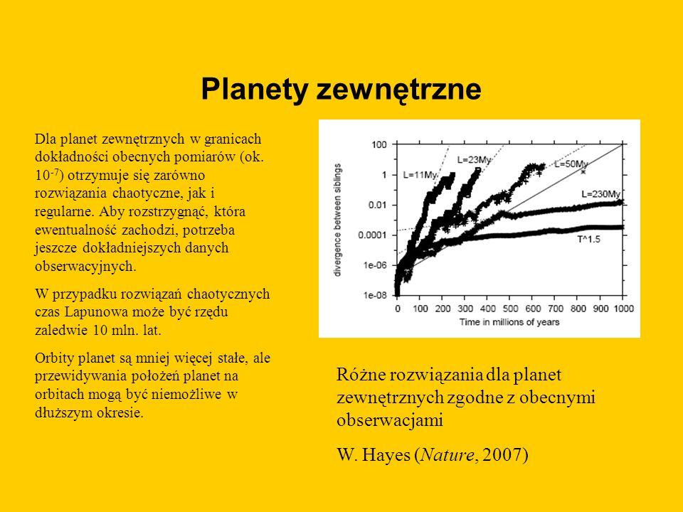 Planety zewnętrzne Dla planet zewnętrznych w granicach dokładności obecnych pomiarów (ok.