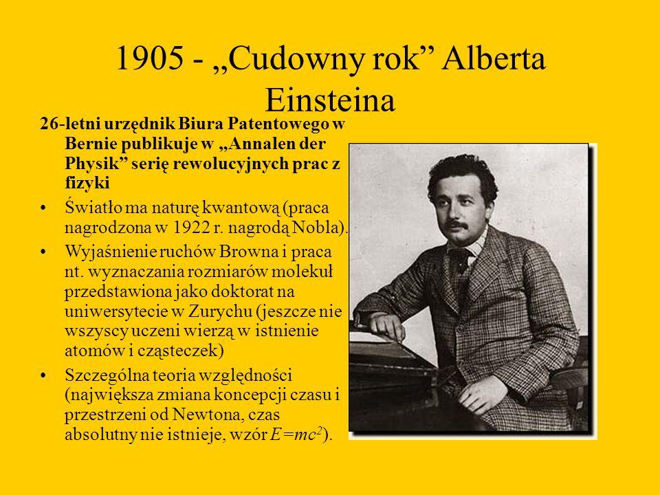 """1905 - """"Cudowny rok Alberta Einsteina 26-letni urzędnik Biura Patentowego w Bernie publikuje w """"Annalen der Physik serię rewolucyjnych prac z fizyki Światło ma naturę kwantową (praca nagrodzona w 1922 r."""