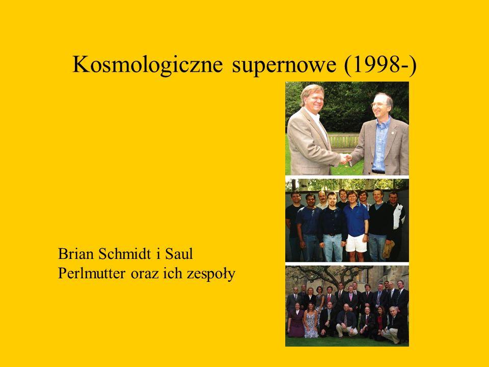 Kosmologiczne supernowe (1998-) Brian Schmidt i Saul Perlmutter oraz ich zespoły