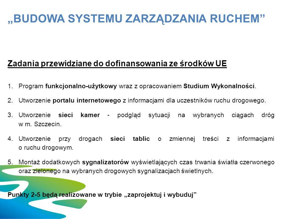 Zadania przewidziane do dofinansowania ze środków UE 1.Program funkcjonalno-użytkowy wraz z opracowaniem Studium Wykonalności.