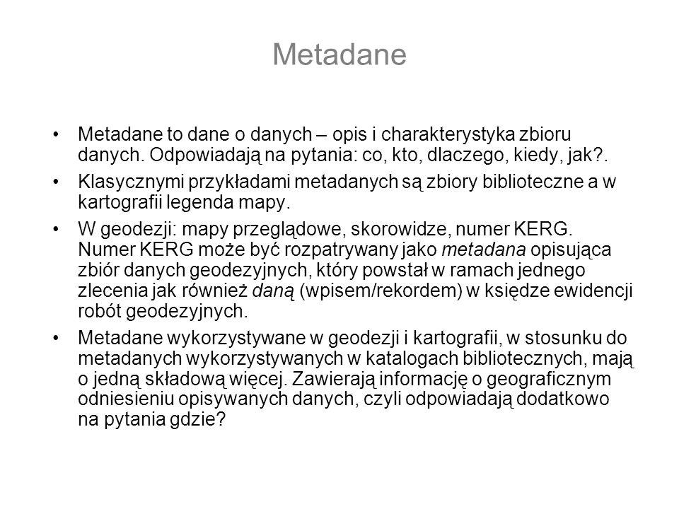 Metadane Metadane to dane o danych – opis i charakterystyka zbioru danych.
