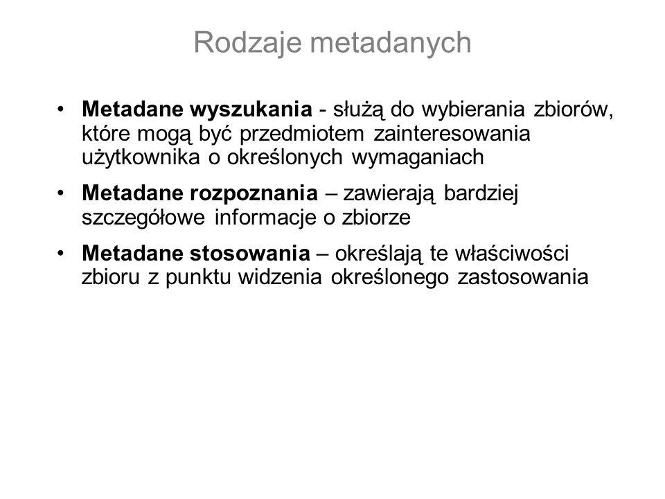 Rodzaje metadanych Metadane wyszukania - służą do wybierania zbiorów, które mogą być przedmiotem zainteresowania użytkownika o określonych wymaganiach Metadane rozpoznania – zawierają bardziej szczegółowe informacje o zbiorze Metadane stosowania – określają te właściwości zbioru z punktu widzenia określonego zastosowania