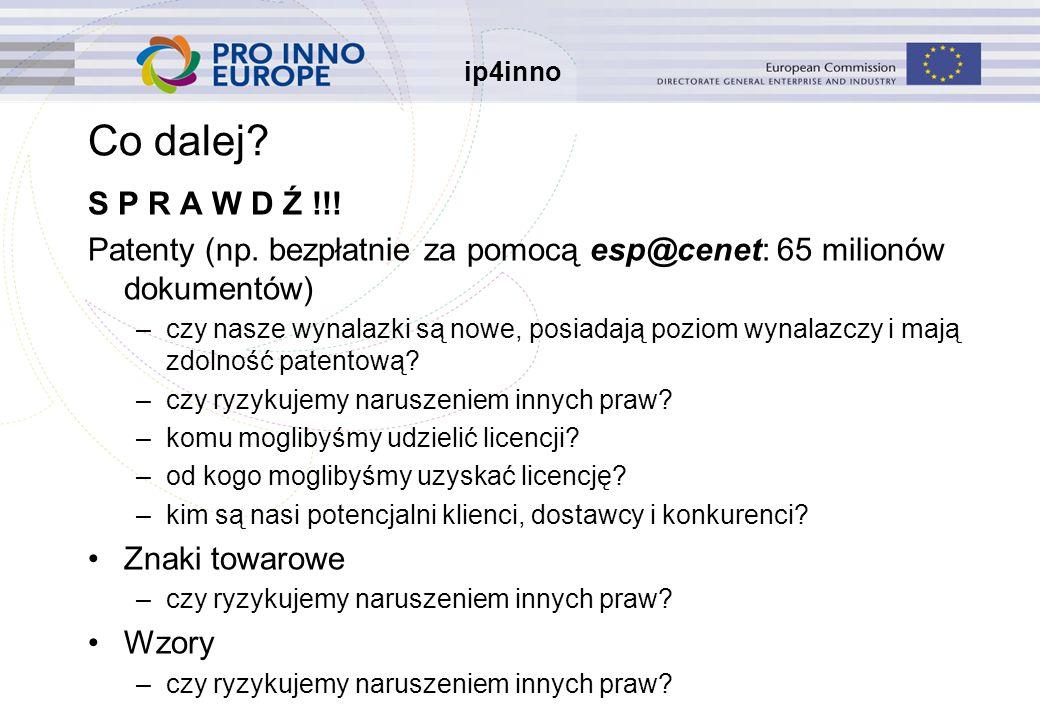 ip4inno Co dalej. S P R A W D Ź !!. Patenty (np.