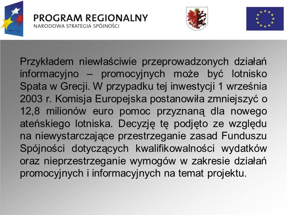 Przykładem niewłaściwie przeprowadzonych działań informacyjno – promocyjnych może być lotnisko Spata w Grecji.