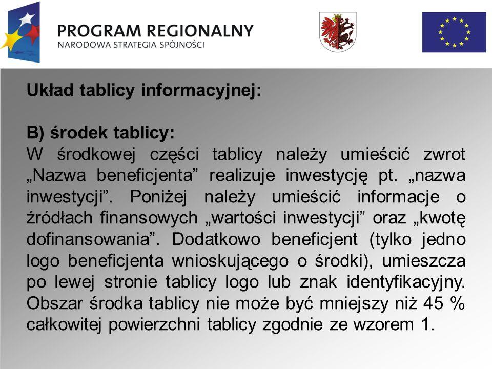 """Układ tablicy informacyjnej: C) stopka: Należy umieścić zwrot """"Projekt współfinansowany przez Unię Europejską z Europejskiego Funduszu Rozwoju Regionalnego ."""