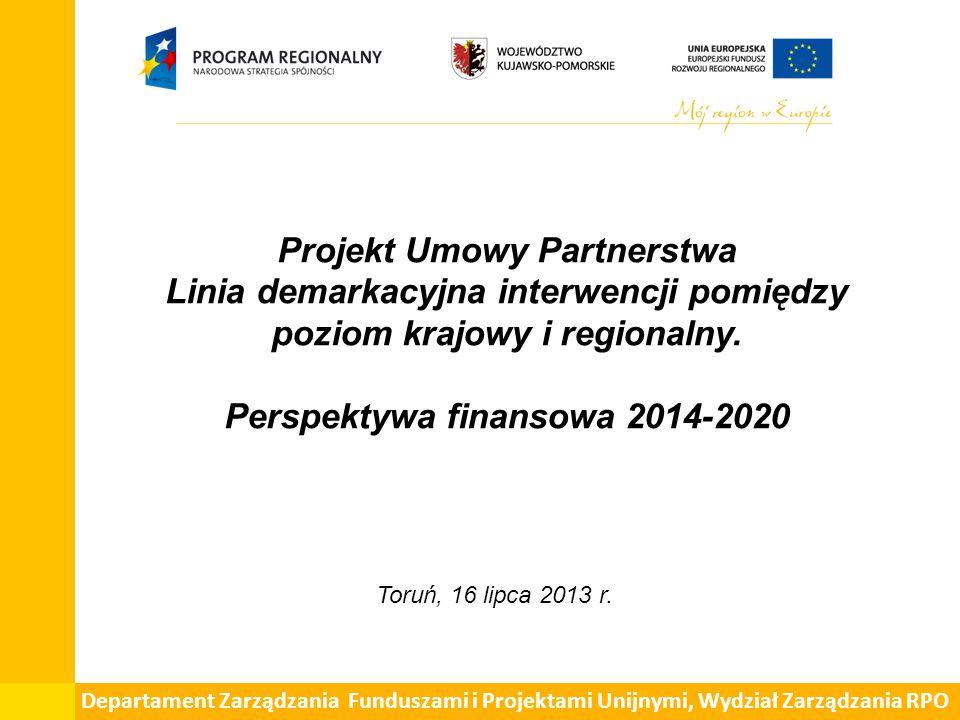 Projekt Umowy Partnerstwa Linia demarkacyjna interwencji pomiędzy poziom krajowy i regionalny.