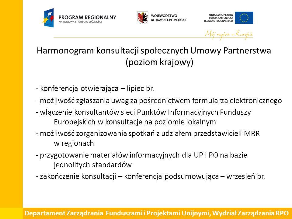 Departament Zarządzania Funduszami i Projektami Unijnymi, Wydział Zarządzania RPO Harmonogram konsultacji społecznych Umowy Partnerstwa (poziom krajowy) - konferencja otwierająca – lipiec br.