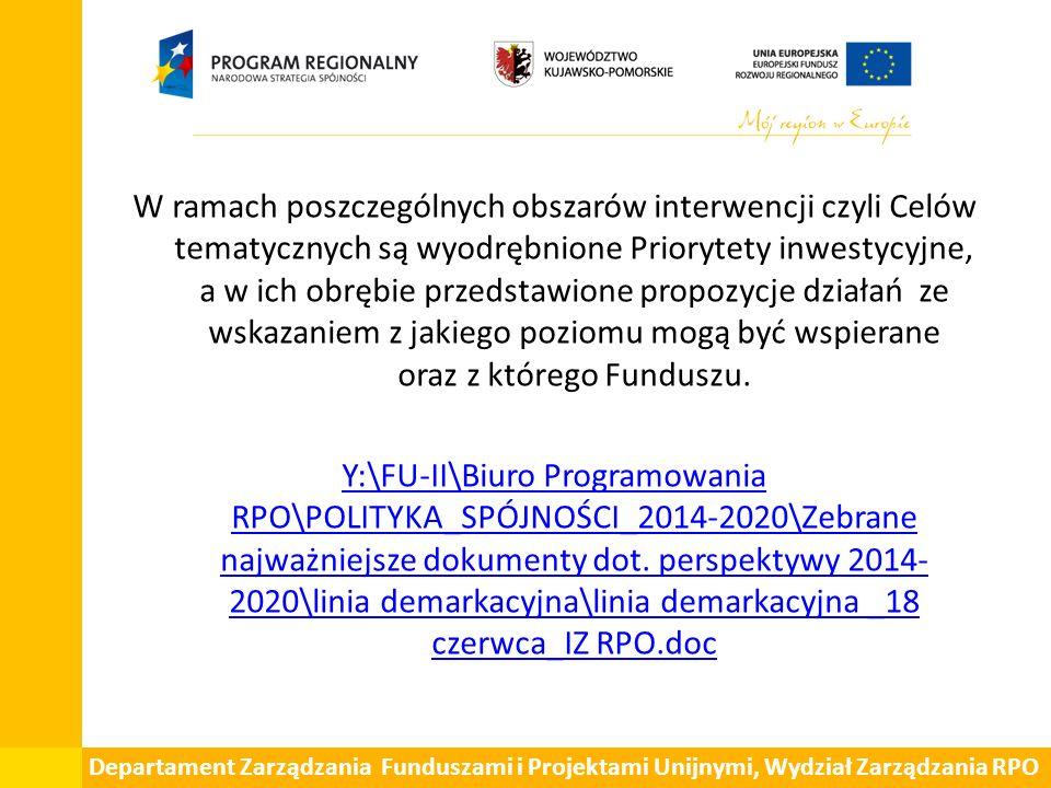 Departament Zarządzania Funduszami i Projektami Unijnymi, Wydział Zarządzania RPO W ramach poszczególnych obszarów interwencji czyli Celów tematycznych są wyodrębnione Priorytety inwestycyjne, a w ich obrębie przedstawione propozycje działań ze wskazaniem z jakiego poziomu mogą być wspierane oraz z którego Funduszu.