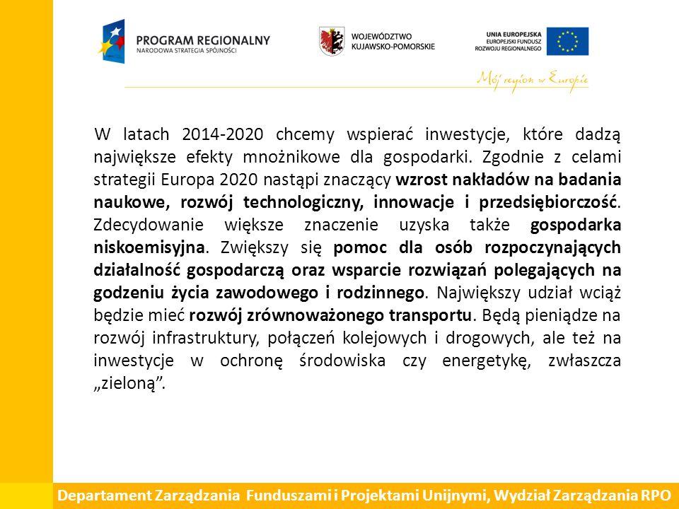 Departament Zarządzania Funduszami i Projektami Unijnymi, Wydział Zarządzania RPO W latach 2014-2020 chcemy wspierać inwestycje, które dadzą największe efekty mnożnikowe dla gospodarki.