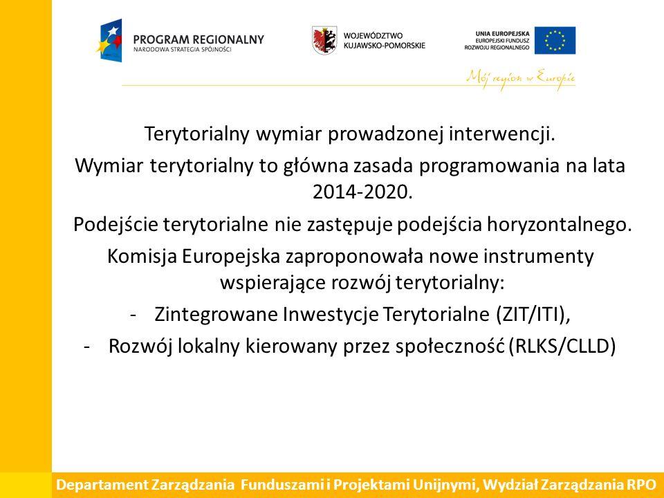 Departament Zarządzania Funduszami i Projektami Unijnymi, Wydział Zarządzania RPO Terytorialny wymiar prowadzonej interwencji.