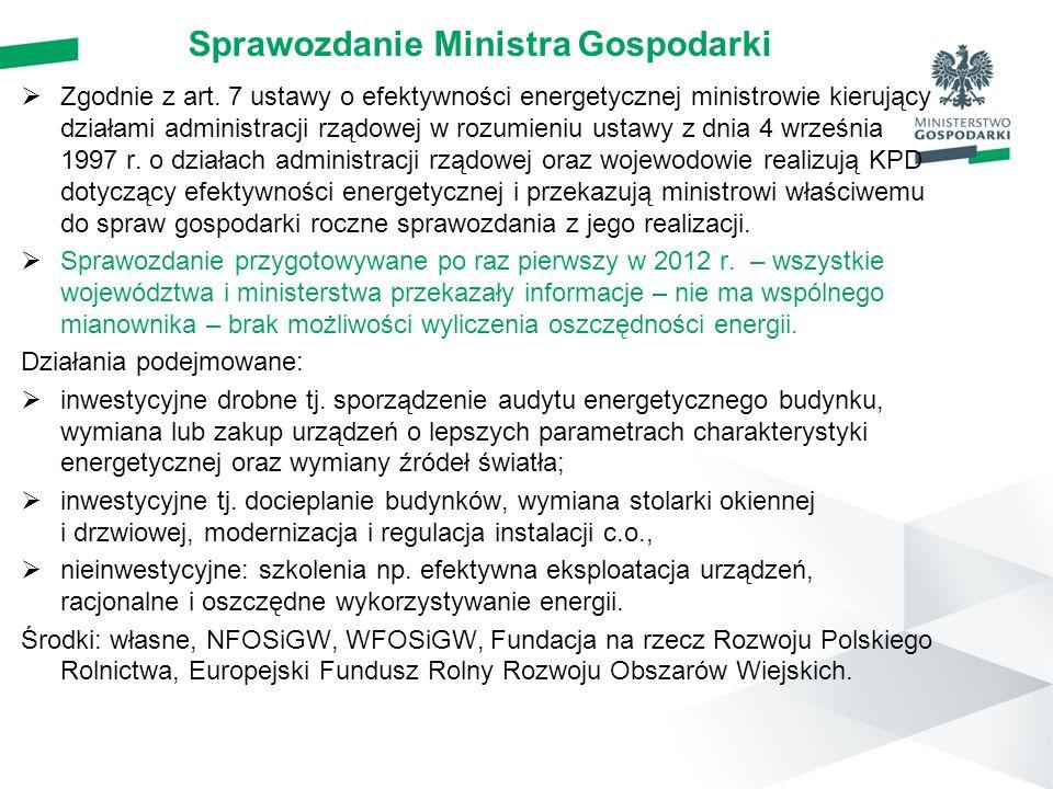 Sprawozdanie Ministra Gospodarki  Zgodnie z art. 7 ustawy o efektywności energetycznej ministrowie kierujący działami administracji rządowej w rozumi