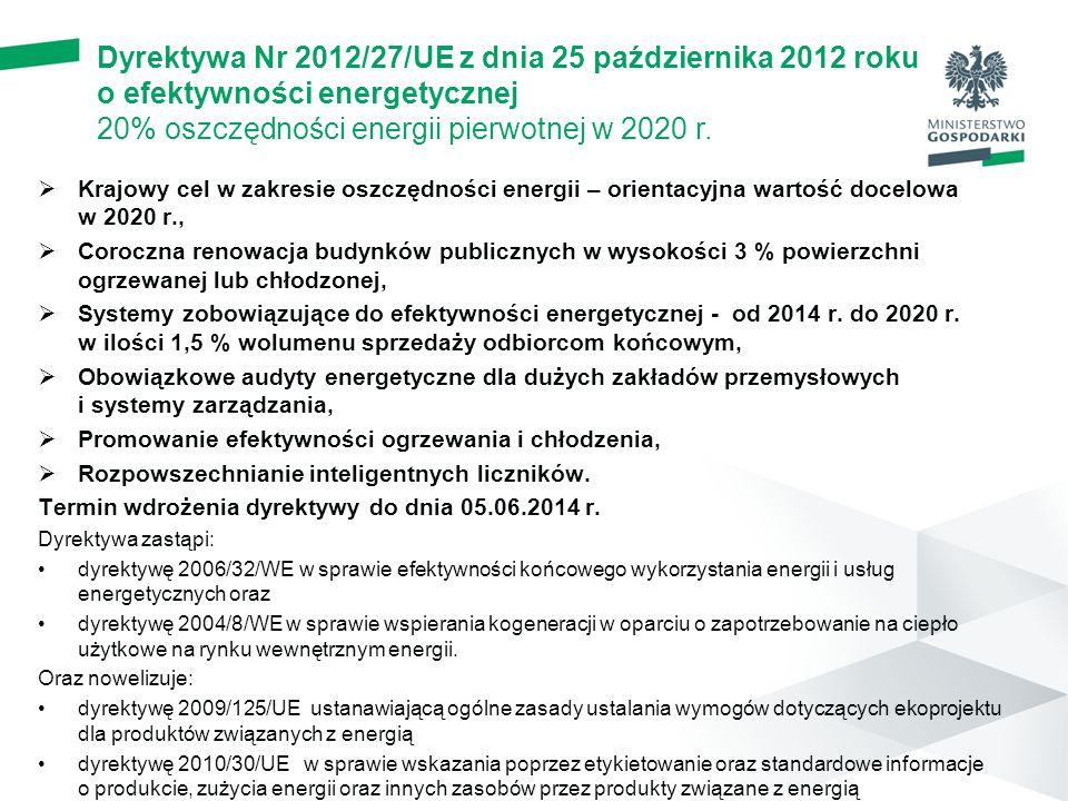  Krajowy cel w zakresie oszczędności energii – orientacyjna wartość docelowa w 2020 r.,  Coroczna renowacja budynków publicznych w wysokości 3 % powierzchni ogrzewanej lub chłodzonej,  Systemy zobowiązujące do efektywności energetycznej - od 2014 r.