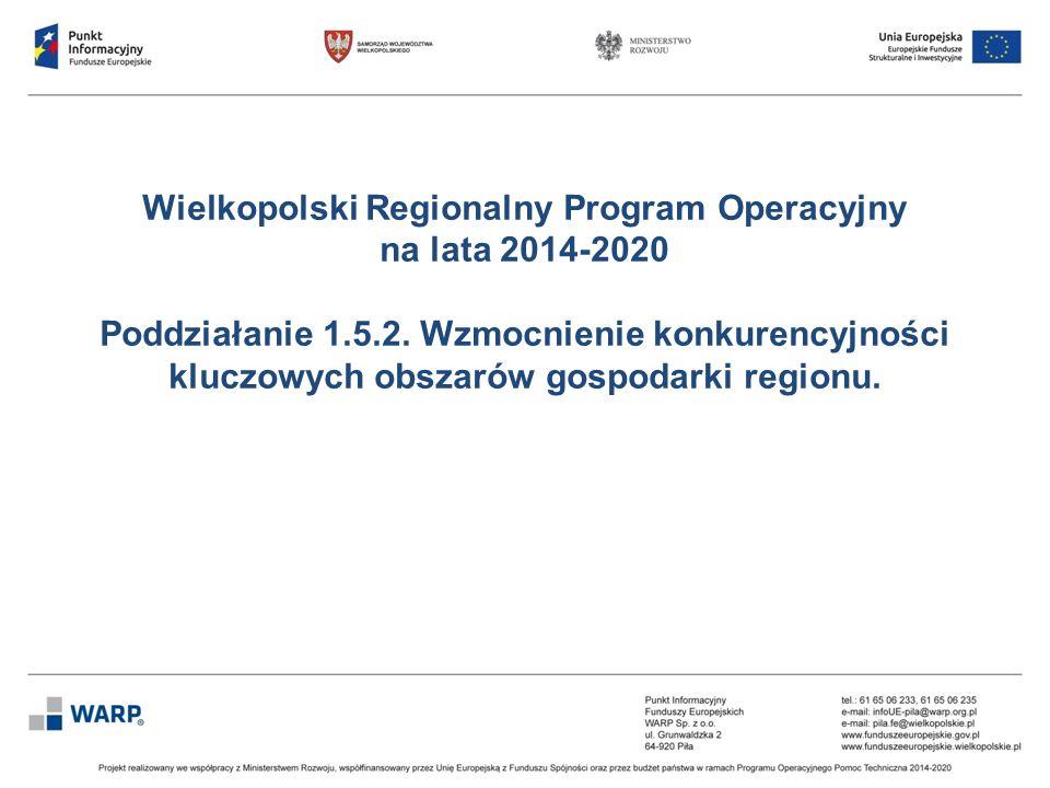 Wielkopolski Regionalny Program Operacyjny na lata 2014-2020 Poddziałanie 1.5.2. Wzmocnienie konkurencyjności kluczowych obszarów gospodarki regionu.