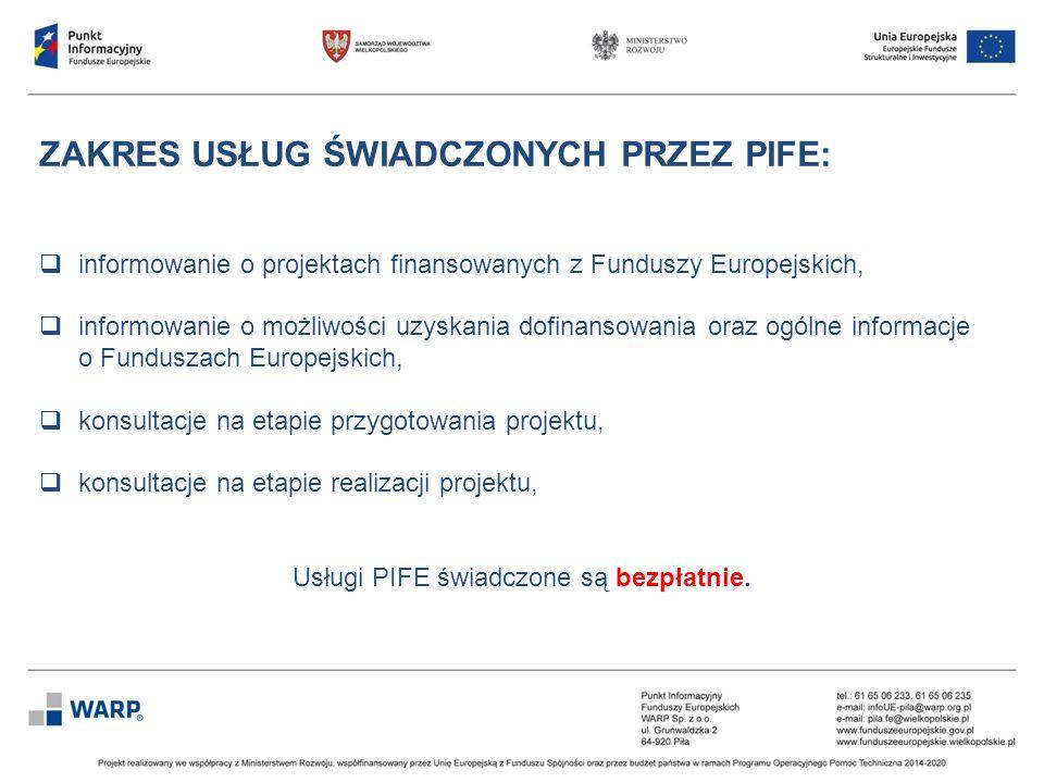 ZAKRES USŁUG ŚWIADCZONYCH PRZEZ PIFE:  informowanie o projektach finansowanych z Funduszy Europejskich,  informowanie o możliwości uzyskania dofinan