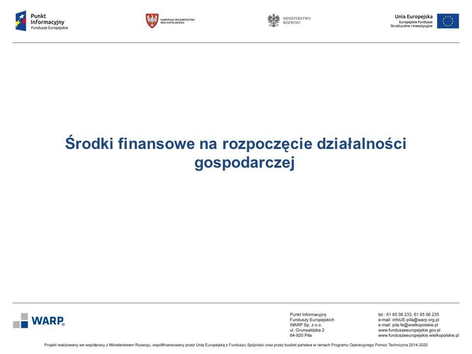 Środki finansowe na rozpoczęcie działalności gospodarczej