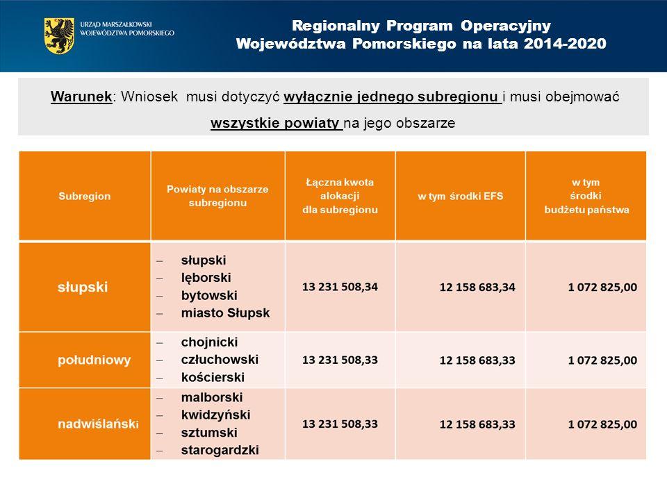 Regionalny Program Operacyjny Województwa Pomorskiego na lata 2014-2020 Montaż finansowy Poziom dofinansowania wydatków kwalifikowalnych projektu wynosi: ze środków EFS - 85%, krajowy wkład publiczny (budżet państwa) - 15%, przy czym kwota dofinansowania z budżetu państwa dotyczy wyłącznie kwoty przeznaczonej we wniosku o dofinansowanie projektu na udzielenie dotacji na tworzenie nowych miejsc pracy w podmiotach ekonomii społecznej.