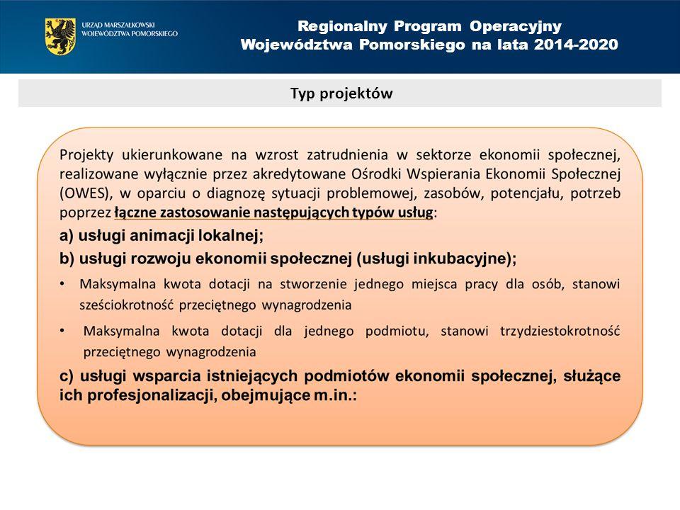 Regionalny Program Operacyjny Województwa Pomorskiego na lata 2014-2020 Typ projektów