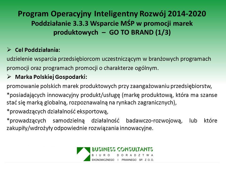 Program Operacyjny Inteligentny Rozwój 2014-2020 Poddziałanie 3.3.3 Wsparcie MŚP w promocji marek produktowych – GO TO BRAND (1/3)  Cel Poddziałania: