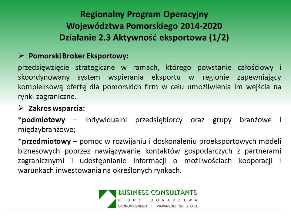 Regionalny Program Operacyjny Województwa Pomorskiego 2014-2020 Działanie 2.3 Aktywność eksportowa (1/2)  Pomorski Broker Eksportowy: przedsięwzięcie