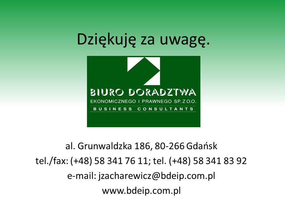 Dziękuję za uwagę. al. Grunwaldzka 186, 80-266 Gdańsk tel./fax: (+48) 58 341 76 11; tel. (+48) 58 341 83 92 e-mail: jzacharewicz@bdeip.com.pl www.bdei