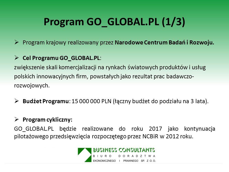 Program GO_GLOBAL.PL (2/3)  Cel II konkursu: umożliwienie firmom z sektora MŚP dofinansowanie kosztów przygotowania strategii wejścia na rynki światowe, dostosowania się do wymagań określonego rynku oraz weryfikacji powstałej strategii w relacji z potencjalnymi inwestorami z zagranicy.