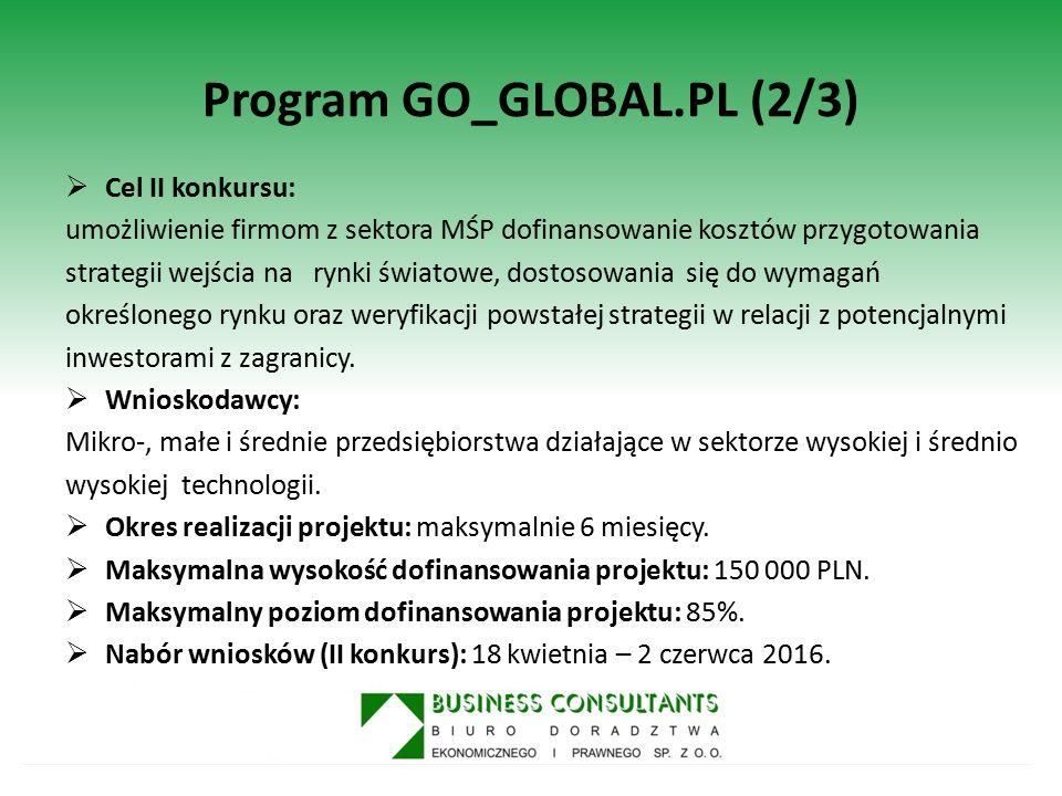 Program GO_GLOBAL.PL (2/3)  Cel II konkursu: umożliwienie firmom z sektora MŚP dofinansowanie kosztów przygotowania strategii wejścia na rynki świato