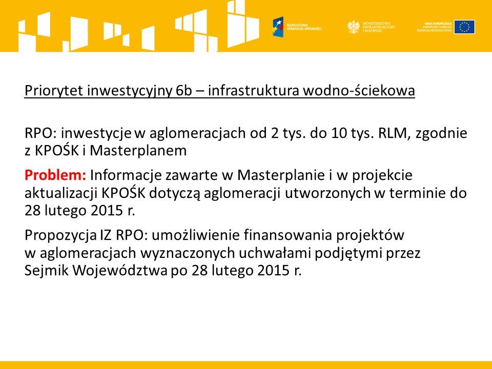Priorytet inwestycyjny 6b – infrastruktura wodno-ściekowa RPO: inwestycje w aglomeracjach od 2 tys.