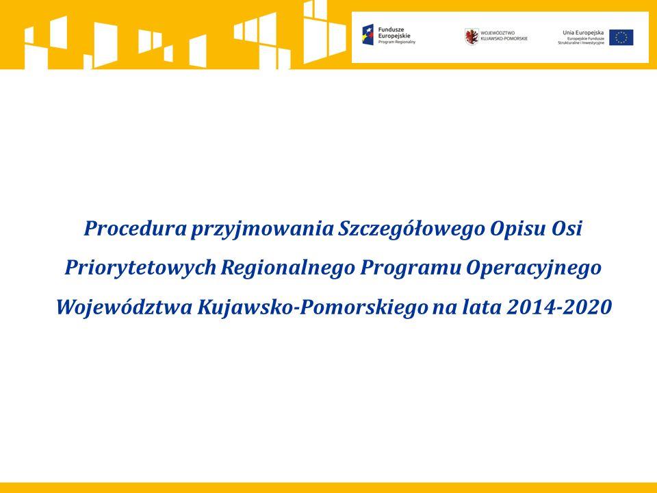 Procedura przyjmowania Szczegółowego Opisu Osi Priorytetowych Regionalnego Programu Operacyjnego Województwa Kujawsko-Pomorskiego na lata 2014-2020