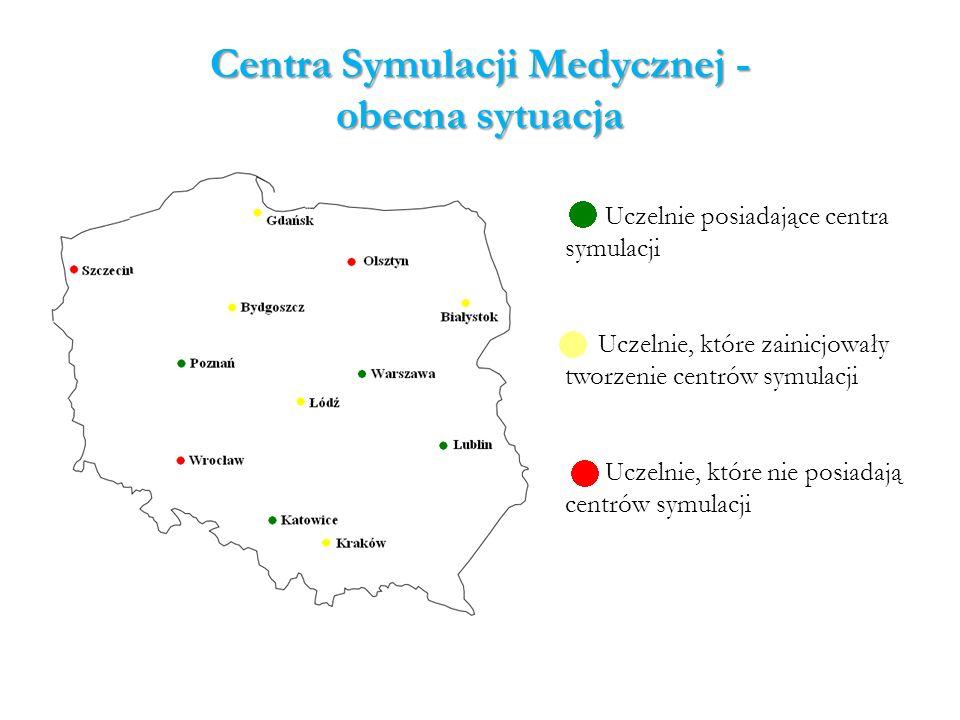 Centra Symulacji Medycznej - obecna sytuacja Uczelnie posiadające centra symulacji Uczelnie, które zainicjowały tworzenie centrów symulacji Uczelnie,