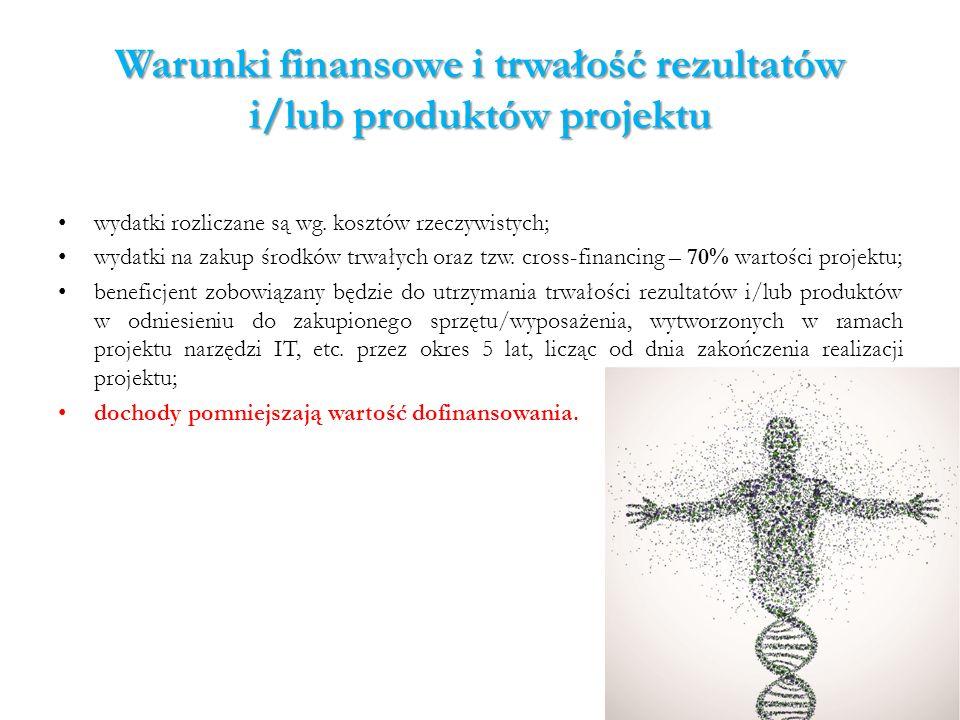 Warunki finansowe i trwałość rezultatów i/lub produktów projektu wydatki rozliczane są wg. kosztów rzeczywistych; wydatki na zakup środków trwałych or