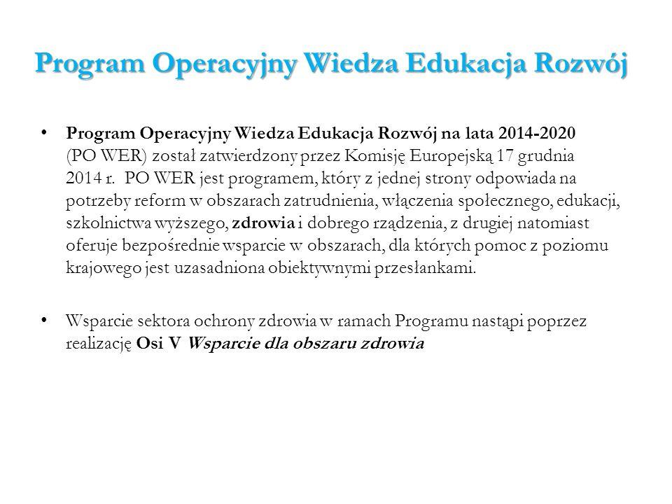 Program Operacyjny Infrastruktura i Środowisko Program Operacyjny Infrastruktura i Środowisko (PO IŚ) tak jak w poprzedniej perspektywie finansowej (2007-2013), ma za zadanie dążyć do zrównoważonego rozwoju gospodarki i zwiększenia konkurencyjności, co będzie możliwe przez wsparcie rozwoju infrastruktury technicznej w Polsce, w tym infrastruktury ochrony zdrowia.