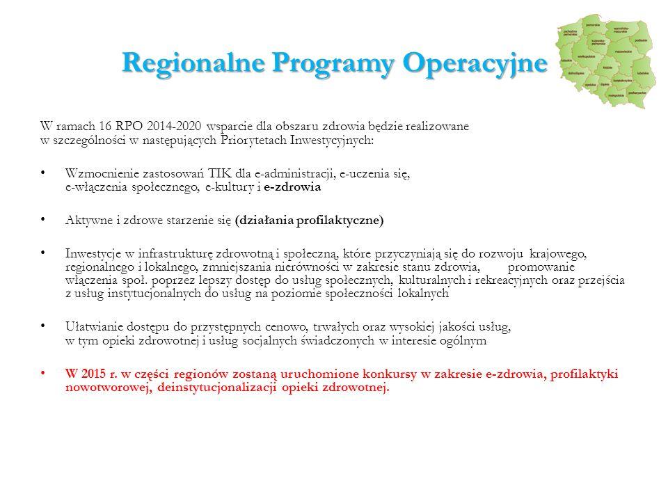 Regionalne Programy Operacyjne W ramach 16 RPO 2014-2020 wsparcie dla obszaru zdrowia będzie realizowane w szczególności w następujących Priorytetach Inwestycyjnych: Wzmocnienie zastosowań TIK dla e-administracji, e-uczenia się, e-włączenia społecznego, e-kultury i e-zdrowia Aktywne i zdrowe starzenie się (działania profilaktyczne) Inwestycje w infrastrukturę zdrowotną i społeczną, które przyczyniają się do rozwoju krajowego, regionalnego i lokalnego, zmniejszania nierówności w zakresie stanu zdrowia, promowanie włączenia społ.