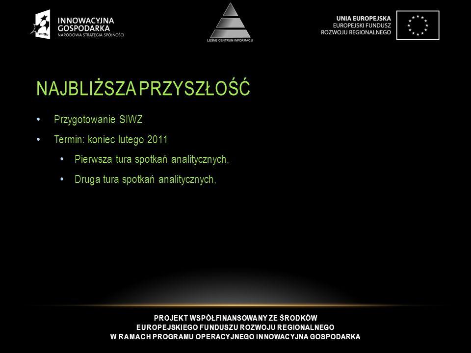 PROJEKT WSPÓŁFINANSOWANY ZE ŚRODKÓW EUROPEJSKIEGO FUNDUSZU ROZWOJU REGIONALNEGO W RAMACH PROGRAMU OPERACYJNEGO INNOWACYJNA GOSPODARKA NAJBLIŻSZA PRZYSZŁOŚĆ Przygotowanie SIWZ Termin: koniec lutego 2011 Pierwsza tura spotkań analitycznych, Druga tura spotkań analitycznych,