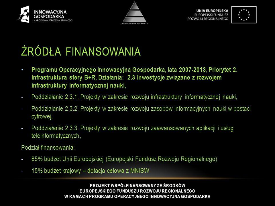 PROJEKT WSPÓŁFINANSOWANY ZE ŚRODKÓW EUROPEJSKIEGO FUNDUSZU ROZWOJU REGIONALNEGO W RAMACH PROGRAMU OPERACYJNEGO INNOWACYJNA GOSPODARKA ŹRÓDŁA FINANSOWANIA Programu Operacyjnego Innowacyjna Gospodarka, lata 2007-2013, Priorytet 2.