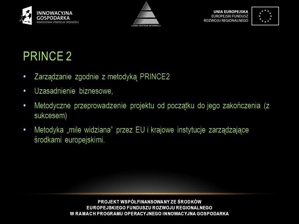 """PROJEKT WSPÓŁFINANSOWANY ZE ŚRODKÓW EUROPEJSKIEGO FUNDUSZU ROZWOJU REGIONALNEGO W RAMACH PROGRAMU OPERACYJNEGO INNOWACYJNA GOSPODARKA PRINCE 2 Zarządzanie zgodnie z metodyką PRINCE2 Uzasadnienie biznesowe, Metodyczne przeprowadzenie projektu od początku do jego zakończenia (z sukcesem) Metodyka """"mile widziana przez EU i krajowe instytucje zarządzające środkami europejskimi."""