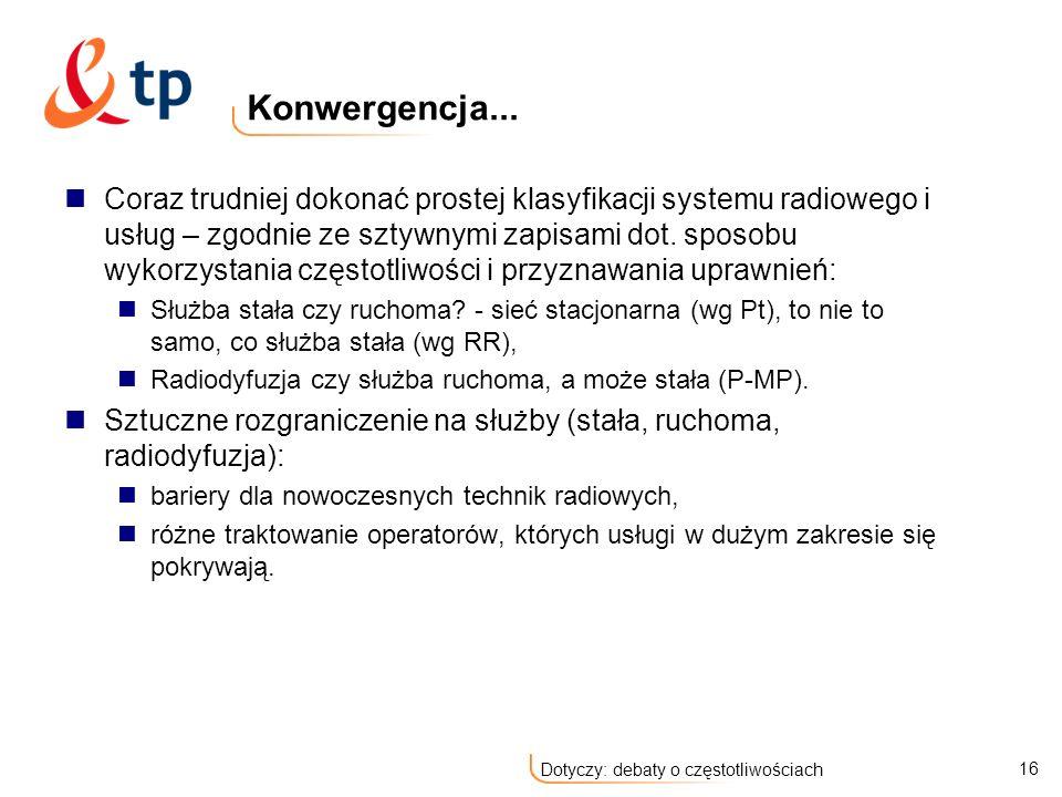 16 Dotyczy: debaty o częstotliwościach Konwergencja...